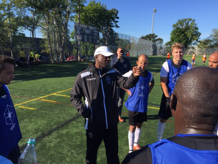 Alex Bunbury with players at the Halifax trials on Sept. 21.